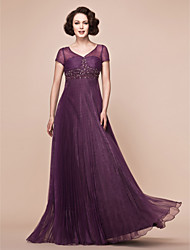 A-line Plus Sizes Mother of the Bride Dress - Grape Floor-length Short Sleeve Organza