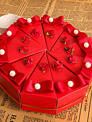 Red Flower Cake Favor Box With Pearl (Set of 10)