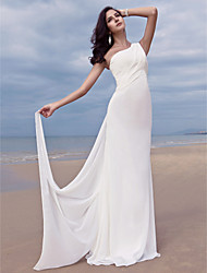 Lanting Bride® Sheath / Column Petite / Plus Sizes Wedding Dress - Chic & Modern / Glamorous & Dramatic Sweep / Brush Train One Shoulder