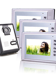 Three 7 Inch Color TFT LCD Video Door Phone with Squared Waterproof Camera (420 TVL)
