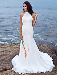 Mermaid / Trumpet Halter Sweep / Brush Train Chiffon Wedding Dress with Beading by LAN TING BRIDE®