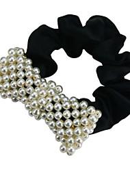 Pearl Bow Ruffle Hair Tie