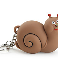 Snail Keychain with LED Flashlight and Sound Effects (Brown)