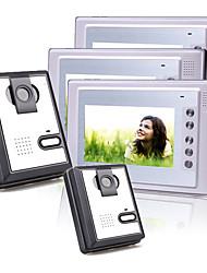 Three 7 Inch Color TFT LCD Video Door Phone Intercom System (2 Plastic Cameras)