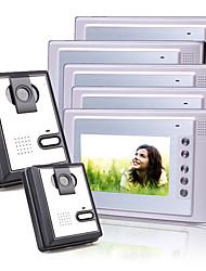 Five 7 Inch Color TFT LCD Video Door Phone Intercom System (2 Plastic Cameras)