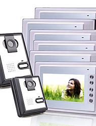 6 alliage couleur 7 pouces TFT LCD vidéo portier système d'interphone (2 caméras en plastique)