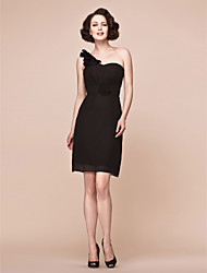 Lanting Bride® Sheath / Column Plus Size / Petite Mother of the Bride Dress - Little Black Dress Short / Mini Sleeveless Chiffon with