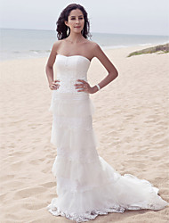 Sheath/Column Plus Sizes Wedding Dress - Ivory Sweep/Brush Train Sweetheart Satin/Tulle