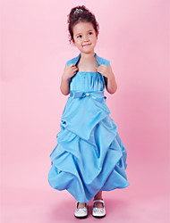 A-line Ball Gown Tea-length Flower Girl Dress - Satin Spaghetti Straps with Bow(s) Draping Pick Up Skirt Sash / Ribbon