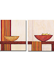 Hand-painted Still Life Oil Painting with Stretched Frame - Set of 2