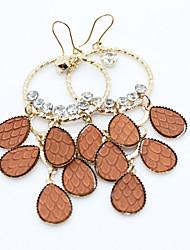 Brown Teardrop Chandelier Earrings