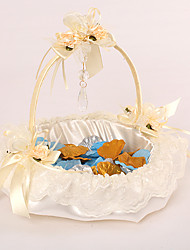 Wedding Flower Girl Basket In Ivory Satin With Lace And Crystal Pendant