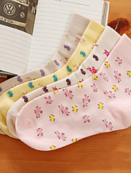 Floral Print Cotton Ankle Socks(More Colors)