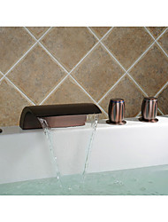 Oil-rubbed Bronze Waterfall Widespread Bathtub Faucet with Hand Shower