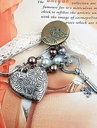 Key Button Satin Butterfly Brooch