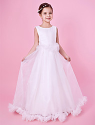 A-line Princess Floor-length Flower Girl Dress - Organza Satin Jewel with Ruffles