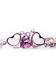 Three Crystal Hearts Bracelet
