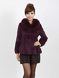 manica lunga pelliccia di coniglio office / casual cappotto con collo di pelliccia di volpe (altri colori)