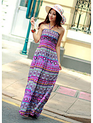 Cotton Halter Neck Maxi Dress In Purple