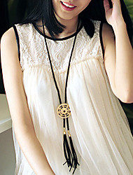Circle Hollow-carved Tassel Necklace