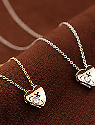 Diamond on Heart Necklace