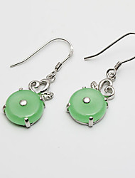 Jade Sterling Silver Fantastic Ladies' Earring