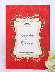 Personalized Exquisite Wedding Invitation/Photo Frame In Red (Set of 50)
