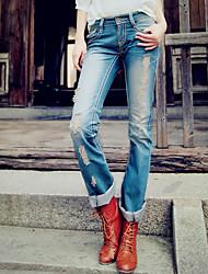 moda falsos velho jeans de algodão