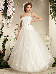 Lanting Bride Ball Gown Petite / Plus Sizes Wedding Dress-Floor-length Spaghetti Straps Tulle