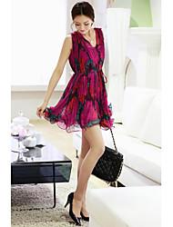 V-Ausschnitt Polyester kurzen Sommerkleid