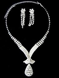lindo strass duas peça elegante queda conjunto de jóias das senhoras (45 cm)