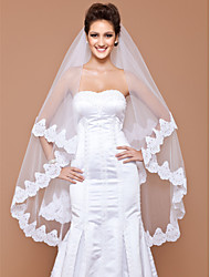 Wedding Veil One-tier Fingertip Veils Lace Applique Edge 102.36 in (260cm) Tulle White IvoryA-line, Ball Gown, Princess, Sheath/ Column,