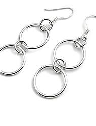 серебро двойное кольцо женская сережка