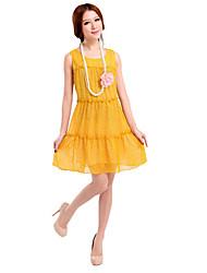 Chiffon Spalte Juwel Mini Sommerkleid
