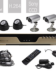 Entry-Level All-in-one 4CH DVR Kit with 4 Sony Cameras (H.264, VGA, Network)
