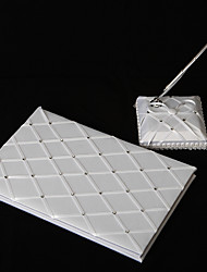 Diamond Grid Pattern White Satin Wedding Guest Book And Pen Set Sign In Book