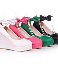 cuero de la PU de cuña 8 cm dulces zapatos de lolita