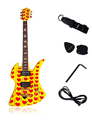 Yellow Heart Heavy Metal Electric Guitar with Accessories