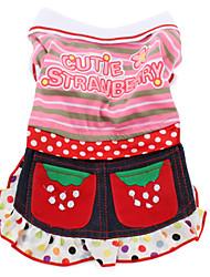 Cutie vestido estilo fresa para perros (XS-XXL, rosa)