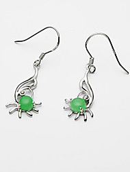 Jade Sterling Silver Perfect Ladies' Earring