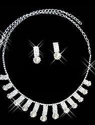 dos de plata reluciente pieza de joyería de damas de la boda set45 cm