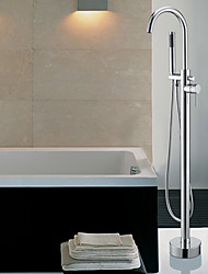 Contemporary Floor Standing Tub Faucet with Hand Shower - Chrome Finish