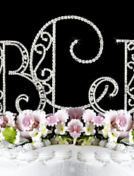 Decorações de Bolo Casal Clássico / Monograma Aniversário / Casamento / Despedida de Solteira / Festa de 16 Anos Strass Prata Tema  Jardim