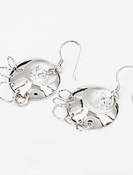 циркон серебро дневной женская сережка