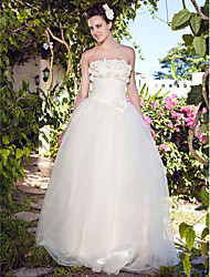 Lan Ting Ball Gown Plus Sizes Wedding Dress - Ivory Floor-length Strapless Organza