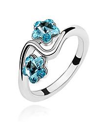 Австрия кристалл кольцо с платиновым напылением сплава - махровые цветки (больше цветов)
