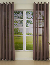AnTi™ Two Panels  High Quality Brown Contemporary Sheer Curtains Drapes