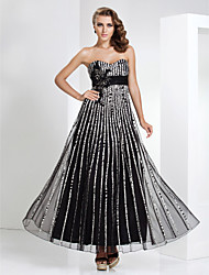 Formal Evening / Military Ball Dress - Elegant Sheath / Column Strapless / Sweetheart Floor-length Tulle / Stretch Satin withBeading /