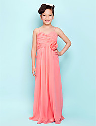 Lanting Bride® Floor-length Chiffon Junior Bridesmaid Dress Sheath / Column Sweetheart / Spaghetti Straps Empire withDraping / Flower(s)