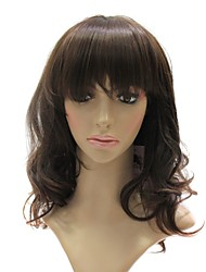 Capless High Quality Synthetic Brown Medium Long Curly wig
